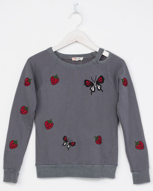 Miss Me Girls' Long Sleeve Butterfly Sweatshirt, Grey, hi-res