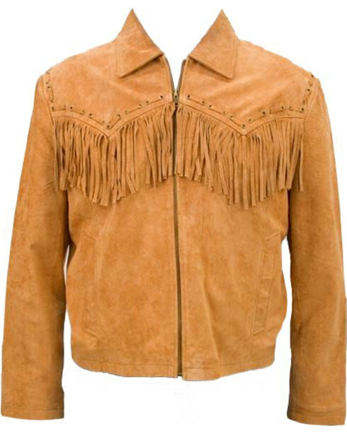 Vintage Leather Men's Suede Fringe Jacket, Brown, hi-res