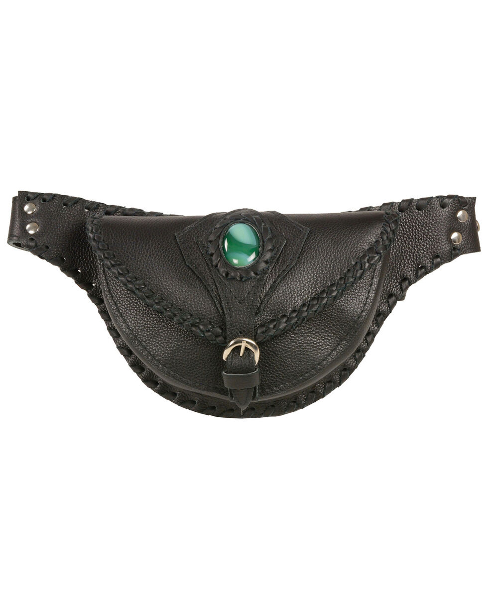 Milwaukee Leather Women's Stone Inlay & Gun Holster Braided Leather Hip Bag, , hi-res