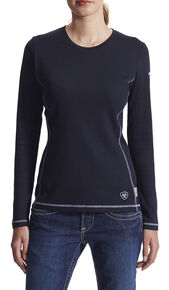 Ariat Women's Flame Resistant Navy Long Sleeve Polartec Top, Navy, hi-res