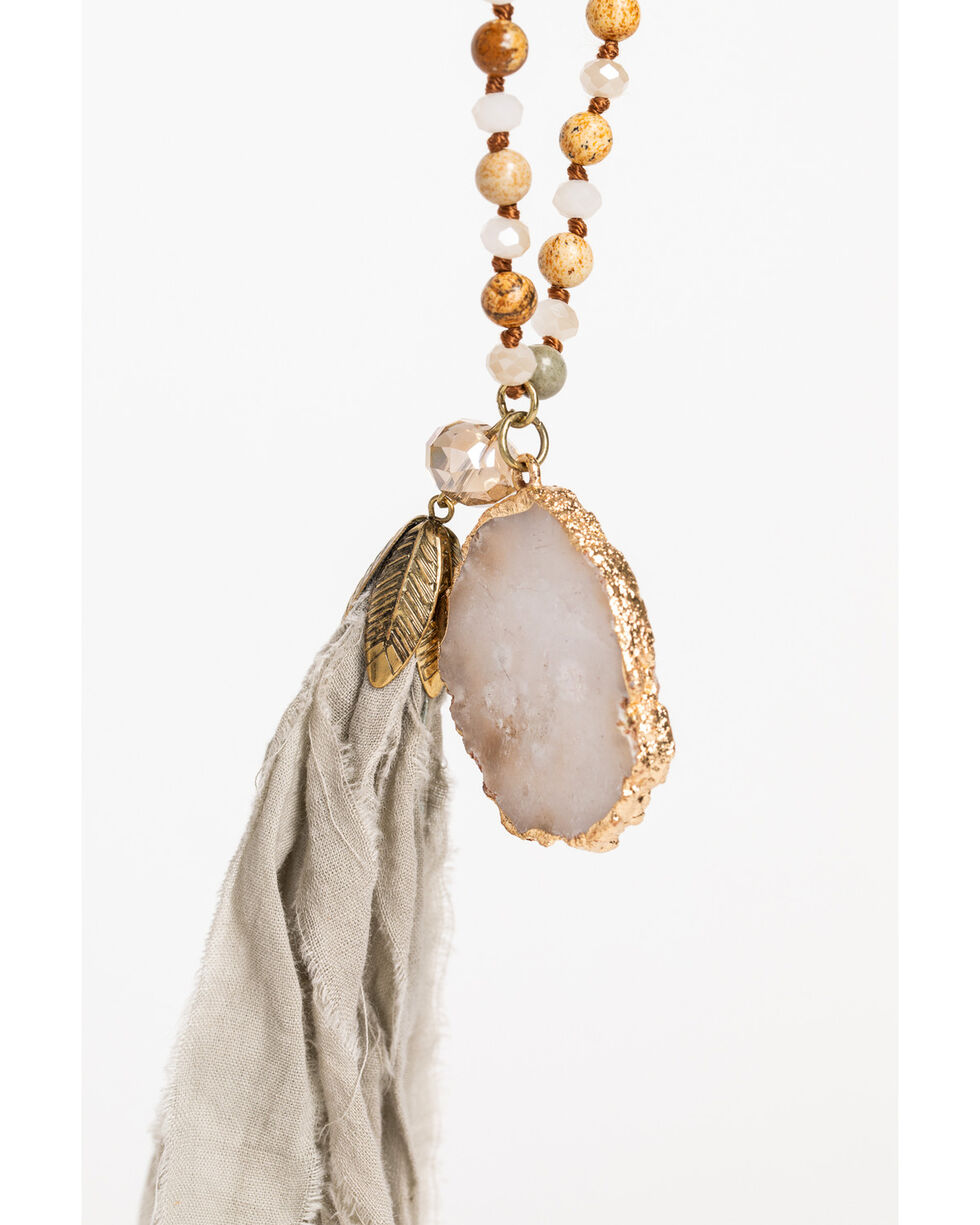 Shyanne Women's Adilene Beaded White Druzy Tassel Necklace, Gold, hi-res