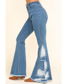 Chrysanthemum Women's Medium Mid-Rise Patch Inset Super Flare Jeans , Blue, hi-res