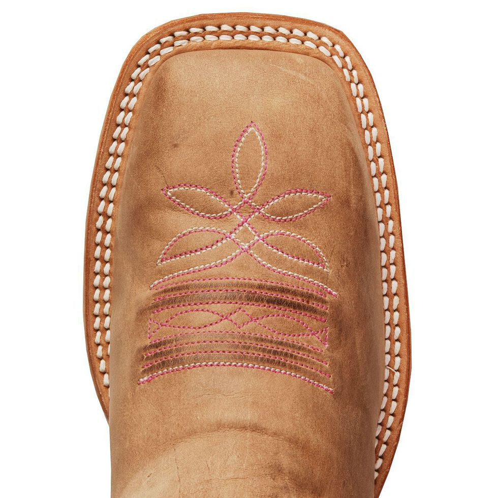 """Justin Bent Rail Women's 13"""" Albany Pink Cowgirl Boots - Square Toe, Tan, hi-res"""
