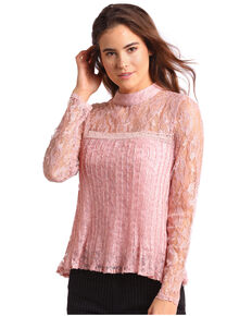 c78d1e5cea198c Panhandle Womens Allover Lace Long Sleeve Blouse, Pink, hi-res