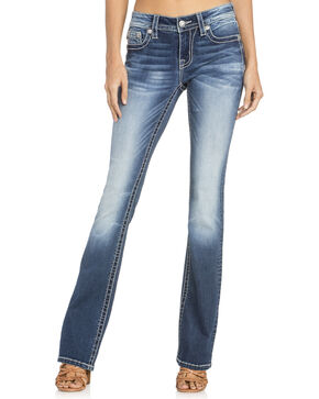 Miss Me Women's Thick Fleur De Lis Boot Cut Jeans, Indigo, hi-res