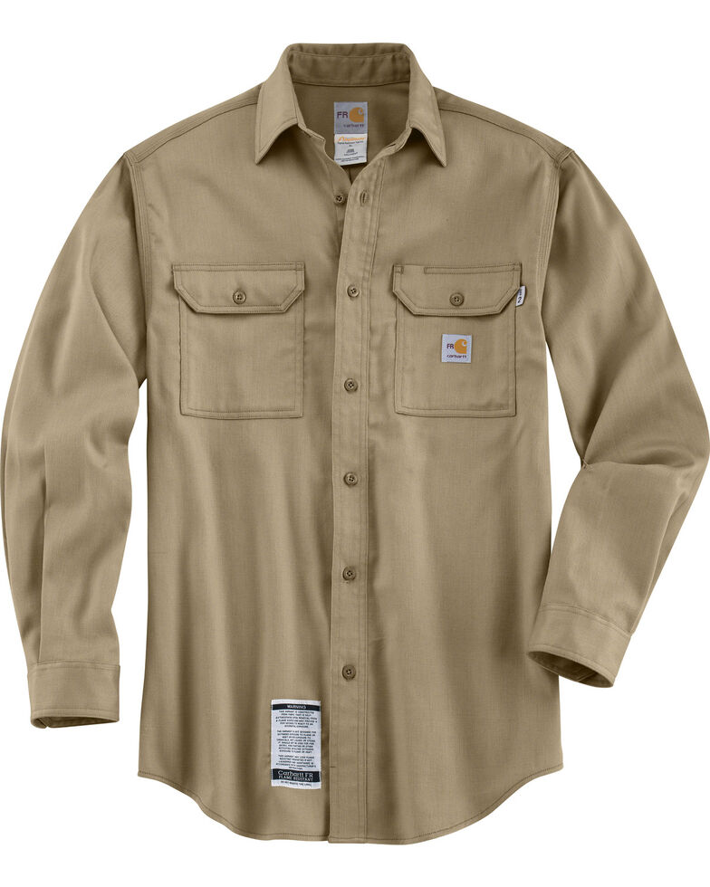 Carhartt Flame Resistant Work-Dry® Twill Long Sleeve Shirt - Big & Tall, Khaki, hi-res
