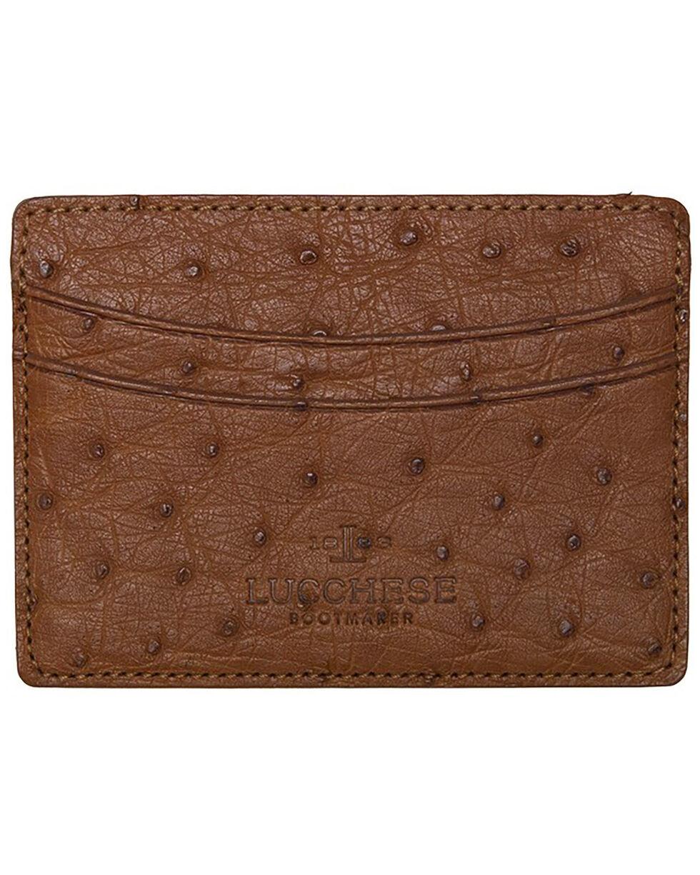 Lucchese Men's Cognac Ostrich Credit Card Case, Cognac, hi-res