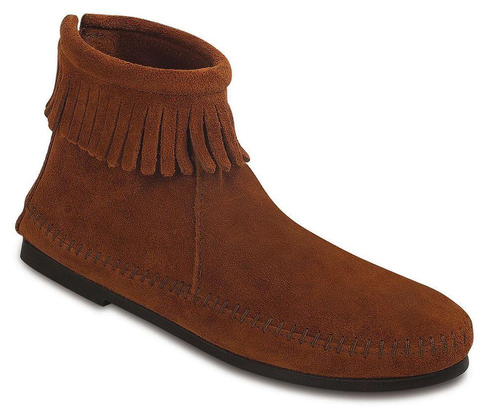 Women's Minnetonka Suede Back Zipper Moccasin Boots, Brown, hi-res