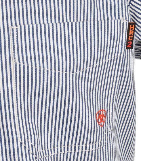 Ariat Men's Flame-Resistant Blue Striped Work Shirt - Big & Tall, Blue, hi-res