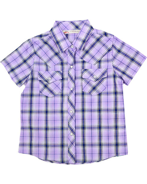 Cumberland Outfitters Girls' Plaid Short Sleeve Shirt, Multi, hi-res