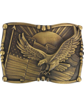 Cody James Men's Antiqued American Flag and Eagle Belt Buckle, Brown, hi-res