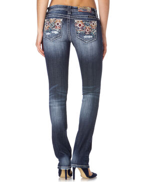 Miss Me Women's Colorful Aztec Patterned Jeans - Boot Cut, Blue, hi-res