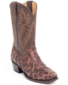 Cody James Men's Coffee Shiny Pirarucu Western Boots - Narrow Square Toe, Brown, hi-res