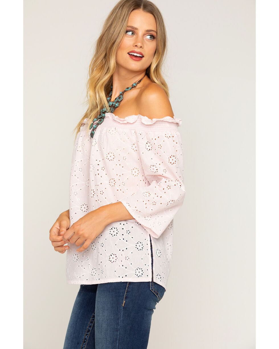 Shyanne Women's Daisy Eyelet Off-The-Shoulder Top , Blush, hi-res