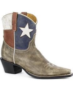 Roper Texas Cowgirl Boots - Snip Toe, Brown, hi-res