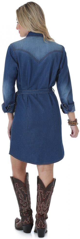 Wrangler Long Sleeve Dark Denim Shirt Dress, Denim, hi-res