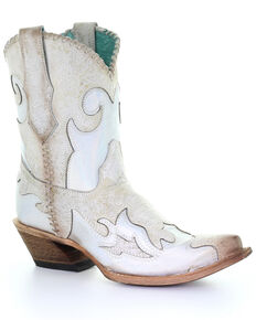 Corral Women's White Inlay Western Boots - Snip Toe, White, hi-res
