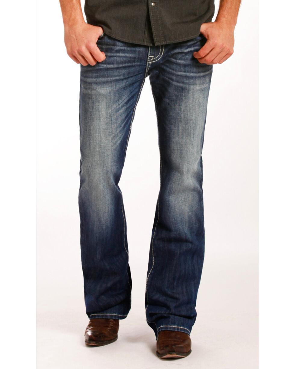 Rock & Roll Cowboy Men's Pistol Embroidered Jeans - Boot Cut , Indigo, hi-res