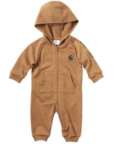 Carhartt Infant Boys' Brown Fleece Logo Graphic Hooded Coveralls , Brown, hi-res