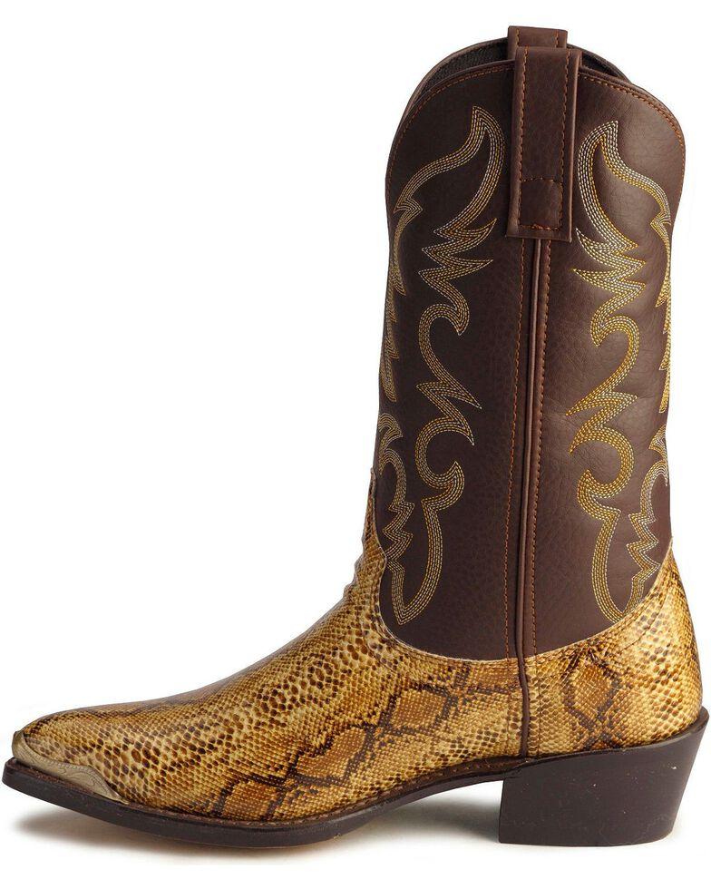 Laredo Python Print Cowboy Boots - Pointed Toe, Brown, hi-res