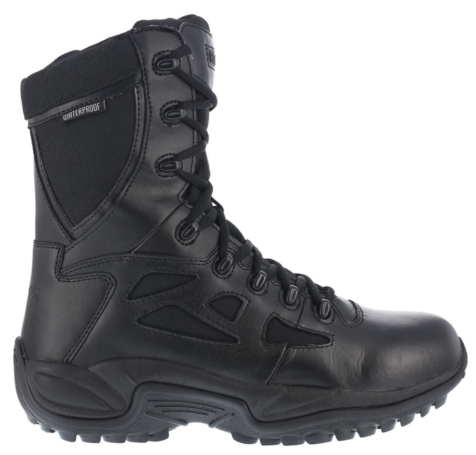"Reebok Men's Rapid Response 8"" Work Boots - Round Toe, Black, hi-res"