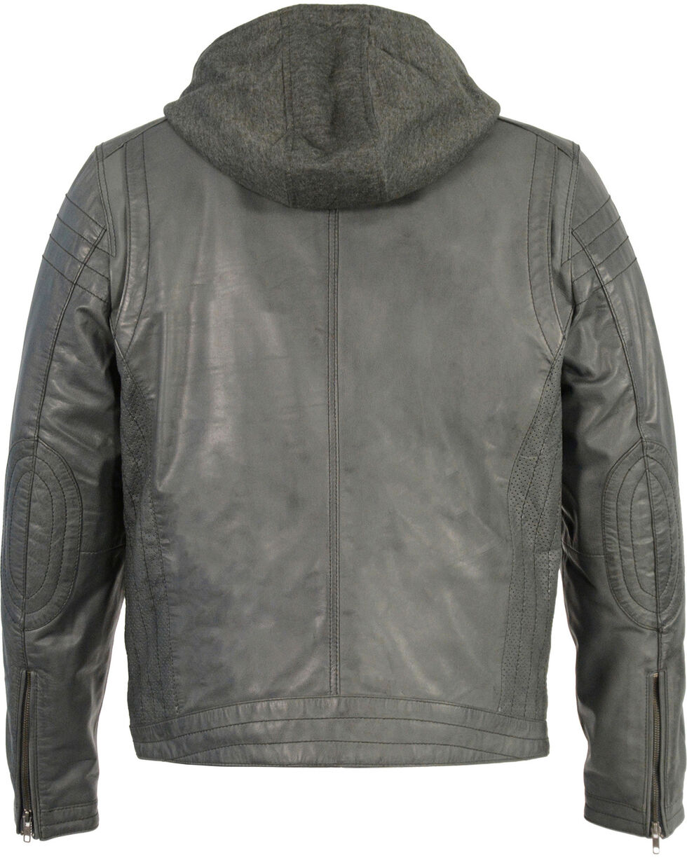 Milwaukee Leather Men's Zipper Front Leather Jacket w/ Removable Hood  , Charcoal, hi-res