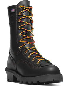 "Danner Men's 10"" Flashpoint II Vibram Fire Logger Outsole Work Boots - Round Toe, Black, hi-res"