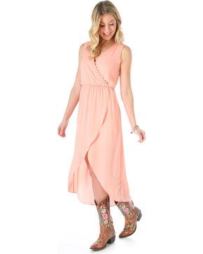 Wrangler Women's Sleeveless High low Wrap Dress, Peach, hi-res