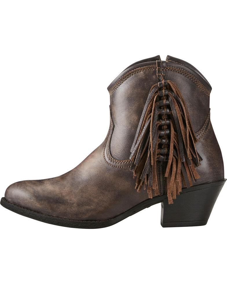 Ariat Women's Chocolate Duchess Braided Fringe Booties - Medium Toe, Chocolate, hi-res
