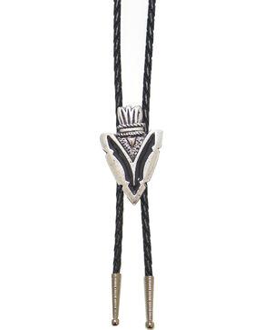 Western Express Arrowhead Black Enamel Bolo Tie, Silver, hi-res