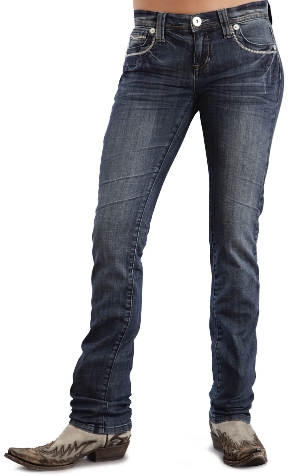 Stetson Women's Stovepipe 541 Fit Embroidered Skinny Jeans, Denim, hi-res