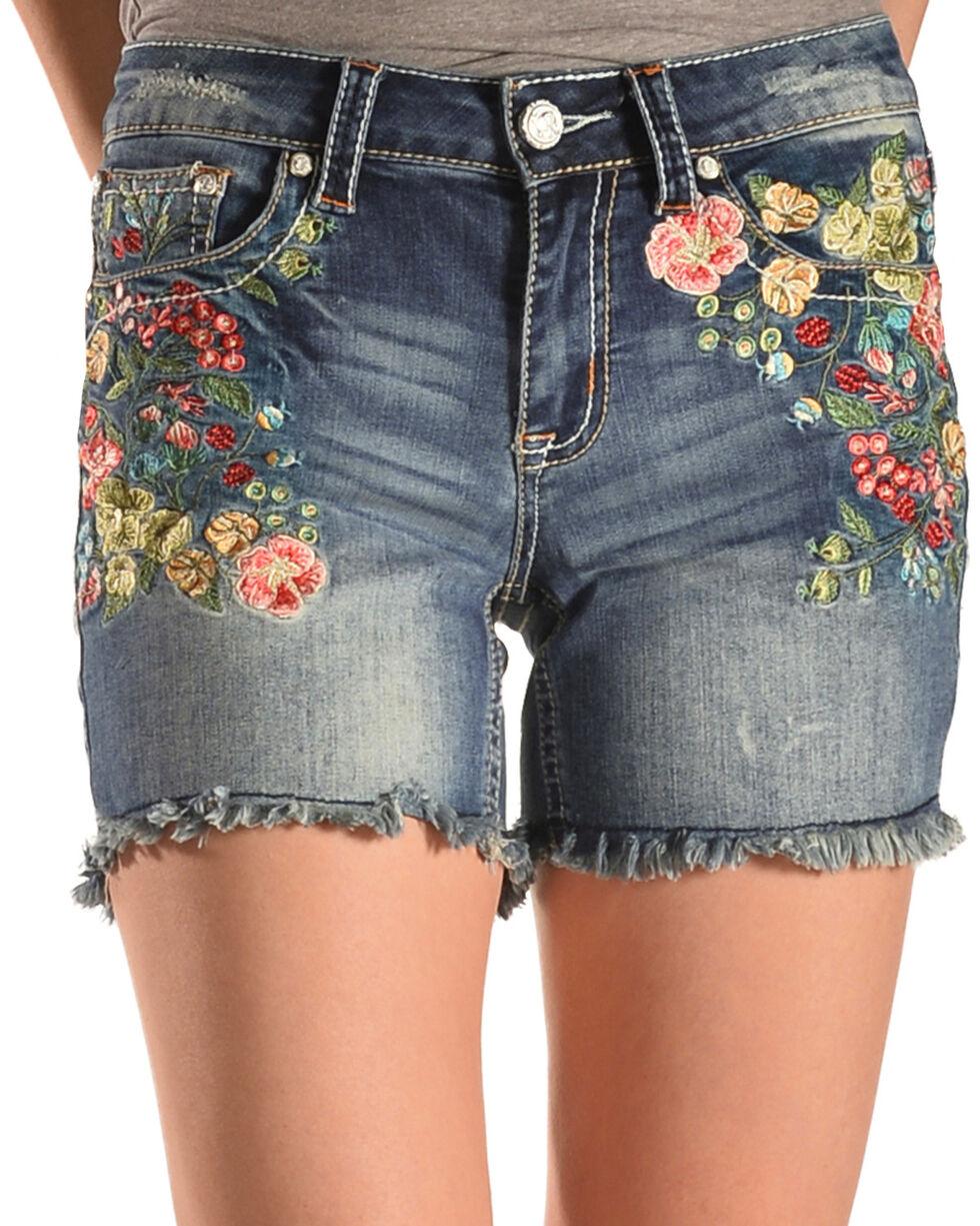 Grace in LA Women's Embroidered Cut Off Denim Shorts, Indigo, hi-res