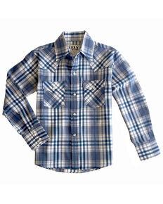 Ely Cattleman Boys' Multi Aztec Plaid Long Sleeve Western Shirt , Blue, hi-res