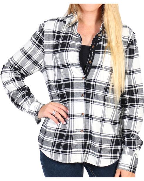 Shyanne Women's Ivory/Black Lace Placket Cotton Flannel Shirt, Ivory, hi-res