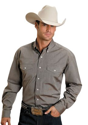Stetson Solid Button Shirt, Brown, hi-res