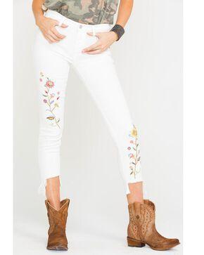 Miss Me Women's Flourish Mid-Rise Ankle Skinny Jeans, White, hi-res