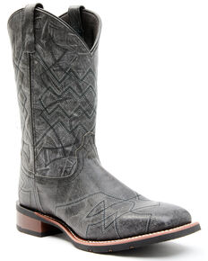 Laredo Men's Charcoal Geo Stitch Western Boots - Wide Square Toe, Charcoal, hi-res