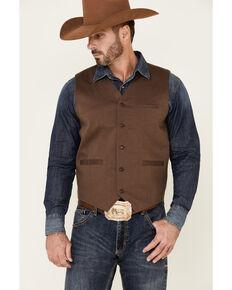 Moonshine Spirit Men's Seer Sucker Diamond Print Button Vest , Brown, hi-res