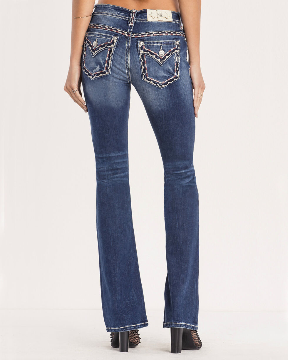Miss Me Women's Whipstitch Mid-Rise Jeans - Boot Cut, Dark Blue, hi-res