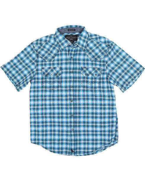 Cody James Boys' Short Sleeve Plaid Sawtooth Western Shirt, Blue, hi-res