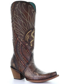 Corral Women's Brown Python Laser Embroidered Western Exotic Boots - Snip Toe, Brown, hi-res