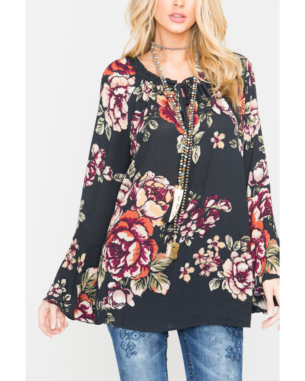 Miss Me Women's Black Floral Printed Bell Sleeve Top , Black, hi-res