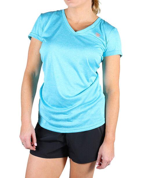Ariat Women's Waterfall Laguna Short Sleeve Top, Light Blue, hi-res