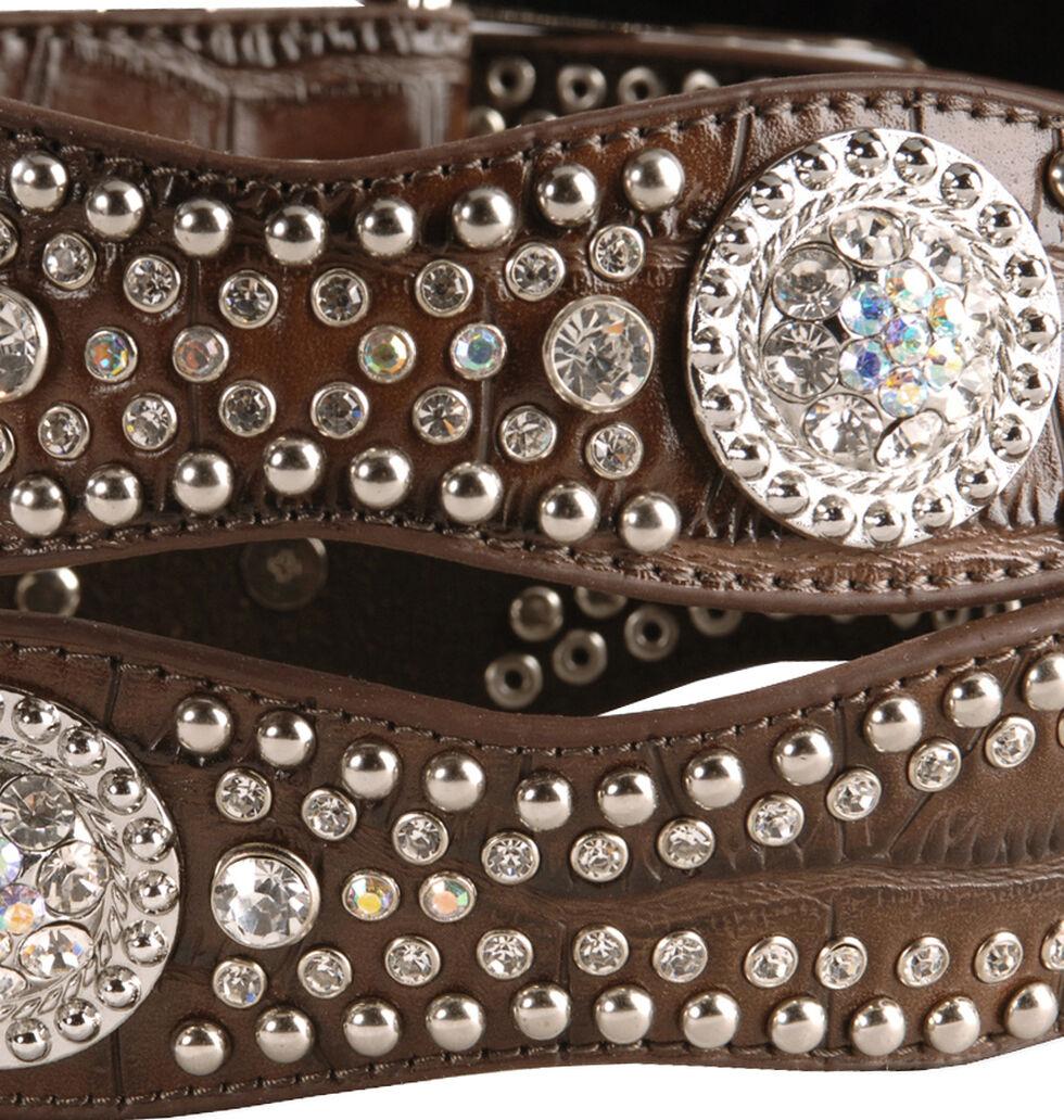 Nocona Rhinestone Embellished Croc Print Leather Belt, Brown, hi-res
