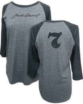 Jack Daniel's Women's 3/4 Sleeve Signature Baseball Tee, Grey, hi-res