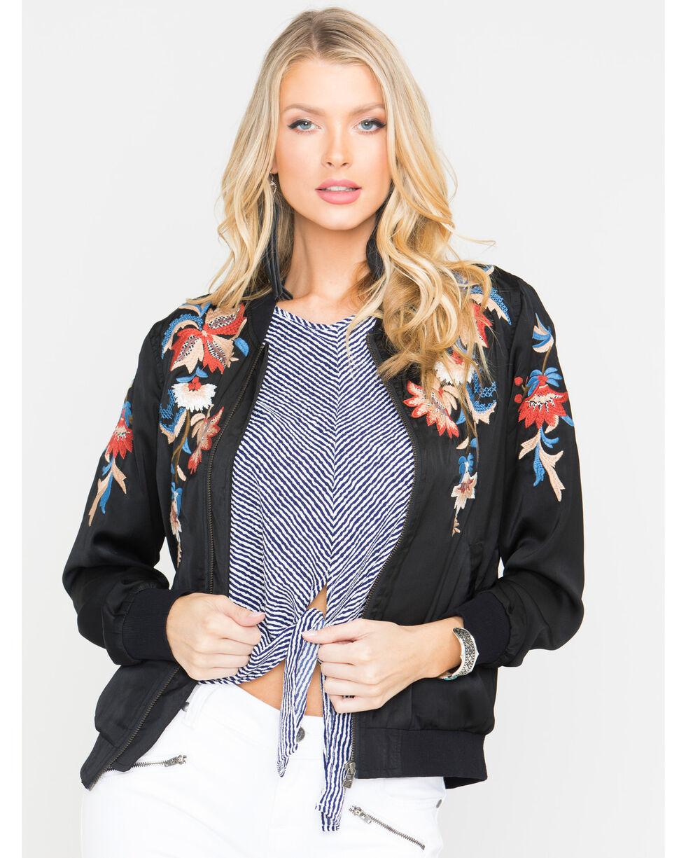 Miss Me Women's Lost Beauty Bomber Jacket, Black, hi-res