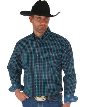 Wrangler George Strait Navy Men's Plaid Shirt , Navy, hi-res