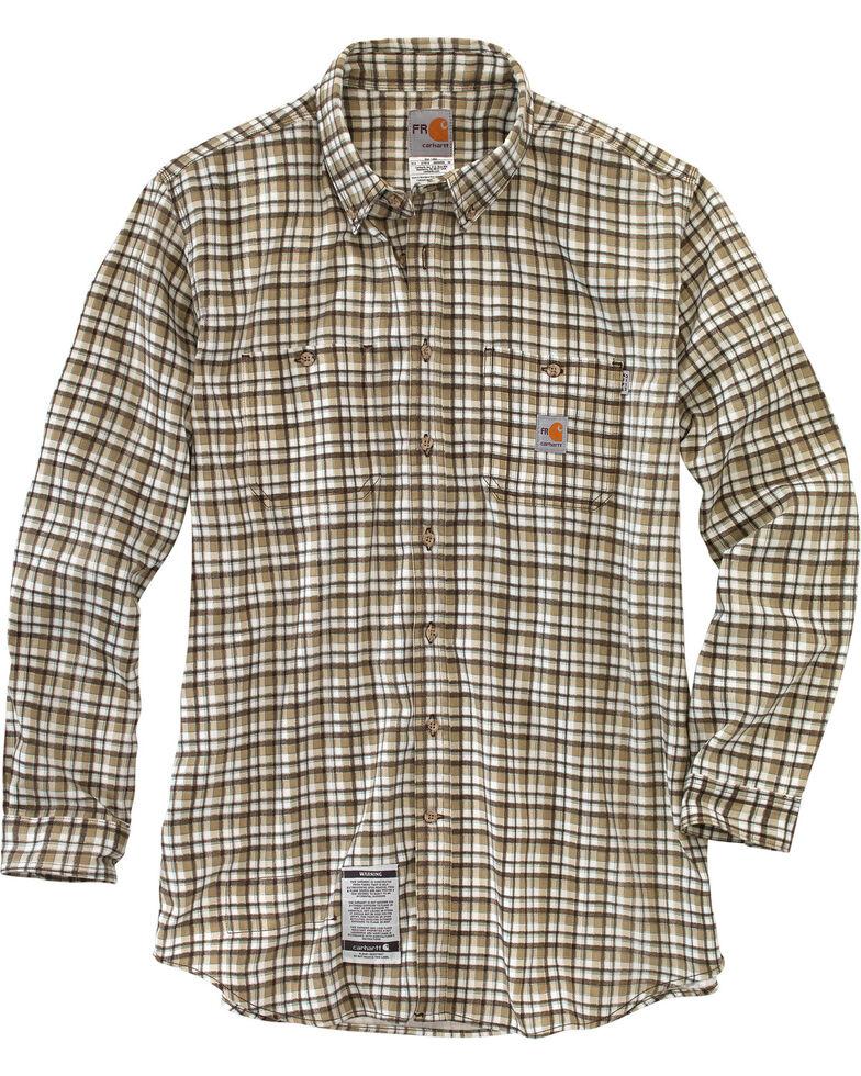 Carhartt Men's Flame Resistant Classic Plaid Shirt, Beige, hi-res