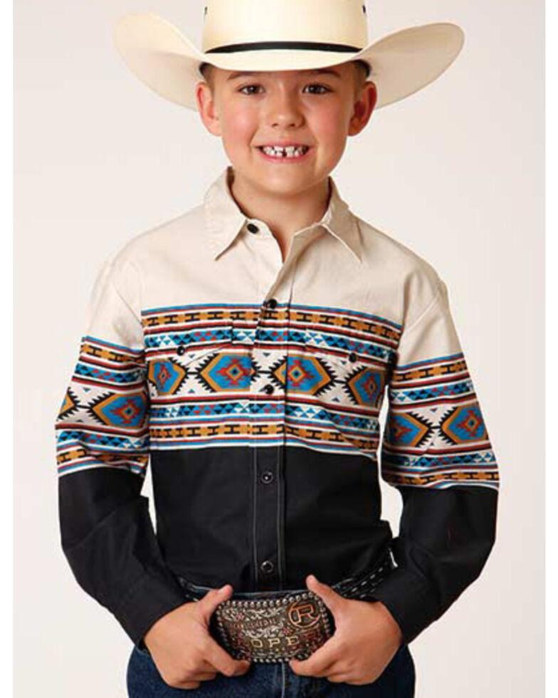 Roper Boys' Black Aztec Border Print Long Sleeve Snap Western Shirt , Black, hi-res