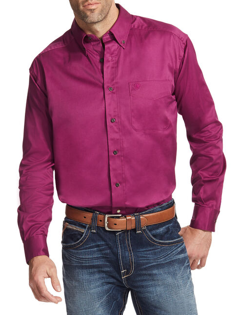 Ariat Men's Magenta Solid Twill Button Down Shirt - Big & Tall, Magenta, hi-res